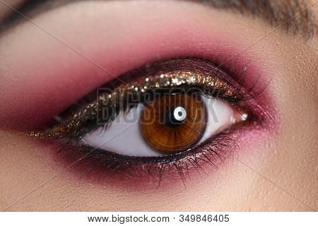 Beautiful Make-up In Oriental Style, Eye Closeup. Fashionable Makeup For Events Or For Photo Shoots.