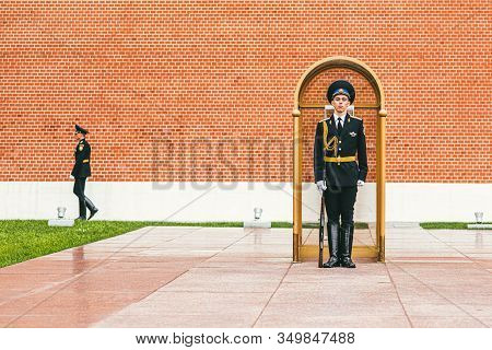 Moscow, Russia - July 7, 2017. A Sentry Stands Guard In A Booth Nearby The Memorial To The Unknown S