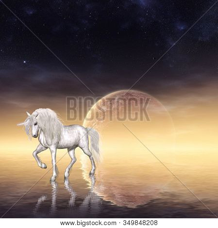 Enchanting White Unicorn Fairytale Fantasy Background, A Heavenly Creature, 3d Render.