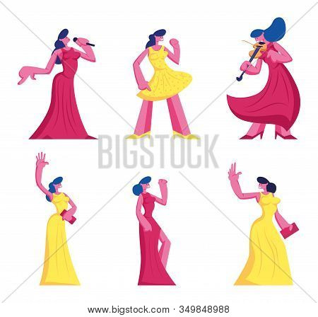 Set Of Young Women In Beautiful Dresses Isolated On White Background. Female Character Perform On St