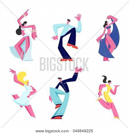 Set Of Male And Female Characters Dancing Isolated On White Background. Joyful Men And Women Wearing