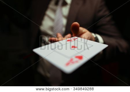 Trump In The Sleeve, Strategy Business Card Game. Gambling Cards, Man Suit Throws Card To Floor. Man