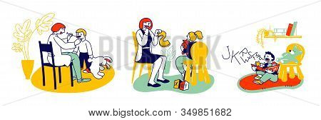 Friendly Woman Logopedist Articulating With Children During Logopedic Treatment Session And Speech T