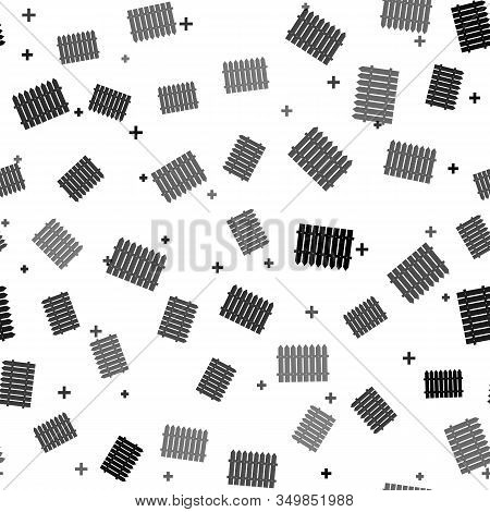 Black Fence Wooden Icon Isolated Seamless Pattern On White Background. Garden Fence Sign. Vector Ill