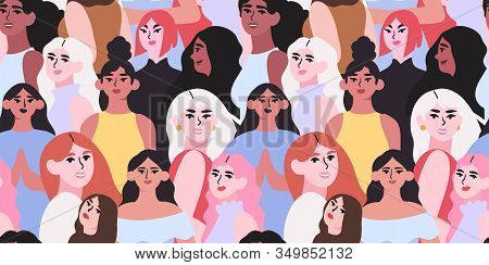 Vector Illustration Of Diverse Beautiful Strong Women That Are Fighting For Equality And Rights. Int