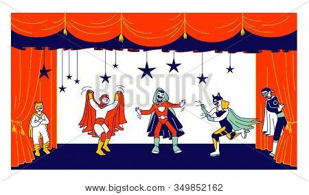 Children Actors In Super Hero Costumes Performing Fairy-tale On Stage During Talent Show. Talented S