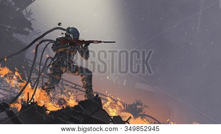 The Futuristic Soldier Aiming His Gun At The Enemy Against The Battlefield Background, Digital Art S