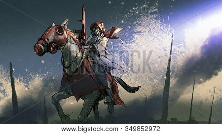 Apocalypse Warrior In A Cloak With Gas Mask Holding A Gun Sitting On Horseback, Digital Art Style, I