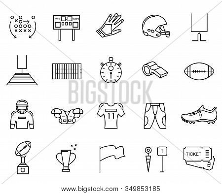 American Football Sign Black Thin Line Icon Set Include Of Ball, Trophy, Whistle And Helmet. Vector