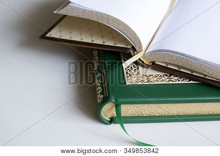 French Binding, Handmade Books, Genuine Leather Case With Gold Stamping.