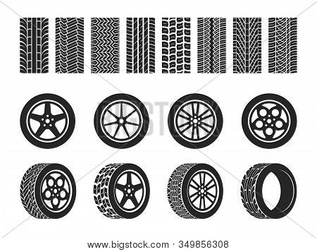 Wheel Tires. Car Tire Tread Tracks, Motorcycle Racing Wheels And Dirty Tires Track. Motocross Bike T