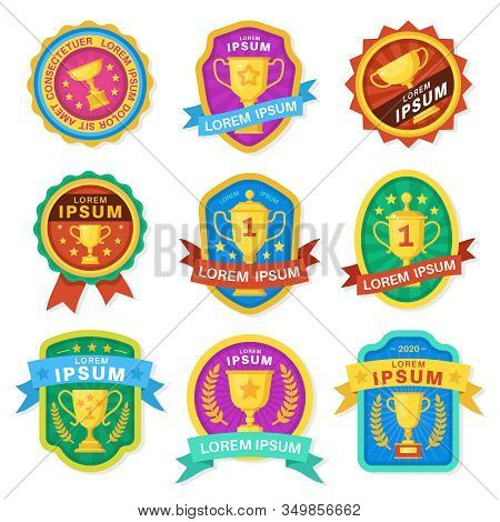 Trophy Cup. Goblet Medal Emblems, Achievement Awards, Various Sport Trophy Golden Cups Symbols Victo