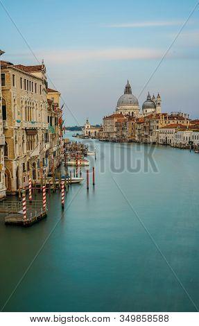 Famous View Of Basilica Di Santa Maria Della Salute And Grand Canal From Accademia Bridge, Venice, I