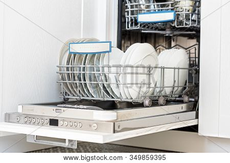 Open Dishwasher Machine. Dishwasher Machine! Cup And Basket.