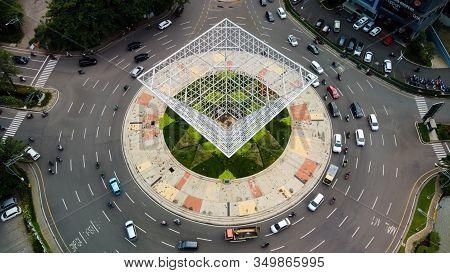 Bekasi, West Java, Indonesia - February 10 2020: Overhead Aerial View Of The Circular Shaped Bekasi