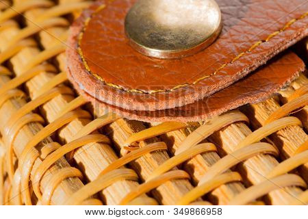 Close Up, Detail Of Wickerwork Women Bag Texture Made From Bamboo. Rivet In Bag, Macro, Close Up