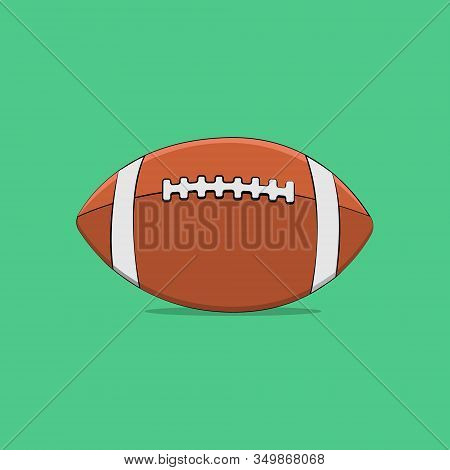 Vector Illustration Sports Equipment Rugby Ball Closeup With White Stripes And A Seam In The Middle