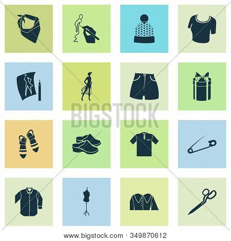 Fashion Design Icons Set With Flat Shoes, Model, Bandanna Drawing Elements. Isolated Vector Illustra