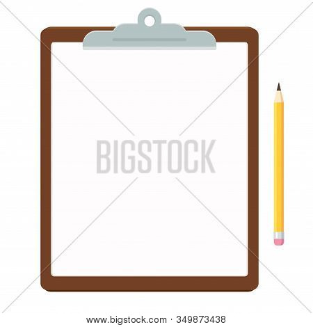Clipboard With Blank Paper Sheet And Pencil. Office Stationery In Simple Flat Vector Style, Isolated
