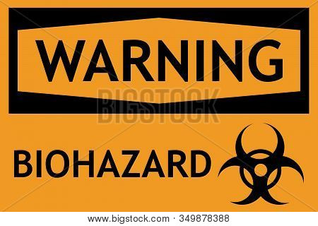Biohazard Warning Sign. Yellow Background. Perfect For Backgrounds, Backdrop, Sticker, Sign, Icon, S