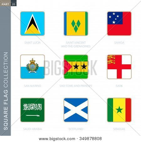 Square Flags Collection Of The World. Square Flags Of Saint Lucia, Saint Vincent And The Grenadines,
