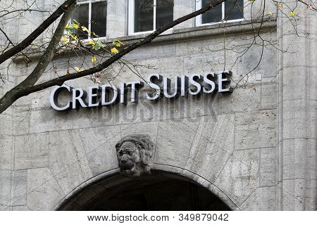Zurich, Switzerland - October 26, 2013. Credit Suisse In The Swiss Financial Center Of Zurich City.