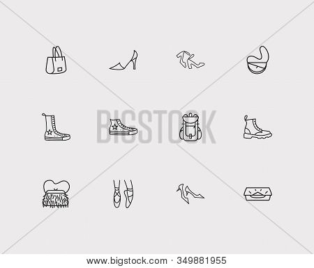 Bags Icons Set. Kitten Heel Shoes And Bags Icons With Muff Bag, Shopper Bag And Converse Shoes. Set