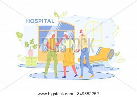 Elderly People Walking In Hospital Room Or Hall, Accompanied By Relatives. Medical Treatment In Hosp