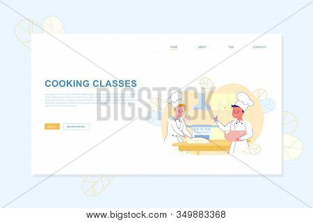 Culinary Cooking Classes For Kids Flat Landing Page. Cartoon Boys Cook Chef Kneading Dough And Whisk