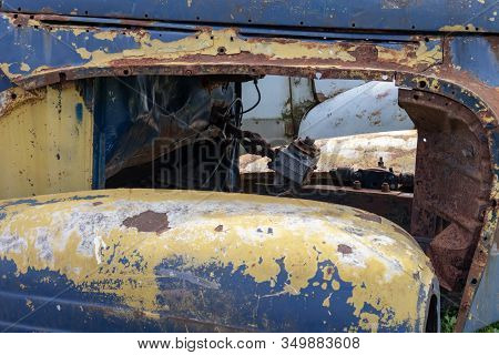 Parts Of Old Abandoned Rusty Vehicles, Crushed Cars In Scrapyard, Junk Yard Needed To Be Utilised An