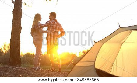 Travelers Watching Sunrise In Gorgeous Place, Romantic Journey, Beautiful Scape
