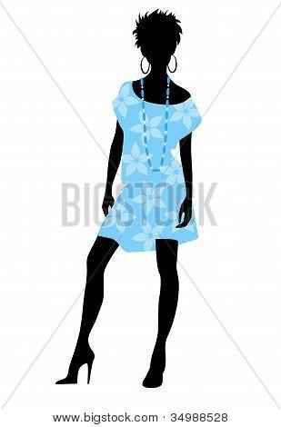 Girl In Blue Dress Silhouette
