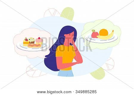Girl Thinking About Healthy And Junk Food Flat Cartoon Vector Illustration. Bubbles With Two Plates.