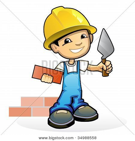 Young Mason With Trowel