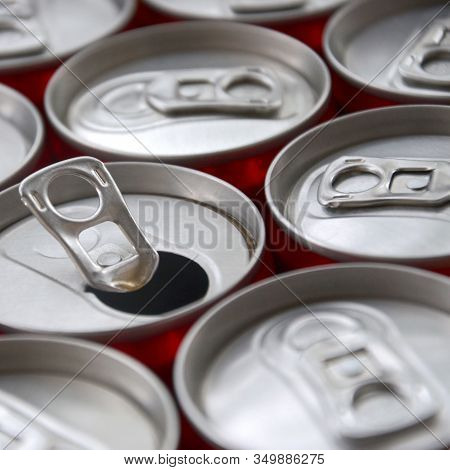 Many Aluminium Soda Drink Cans. Advertising For Soda Drinks Or Tin Cans Mass Manufacturing
