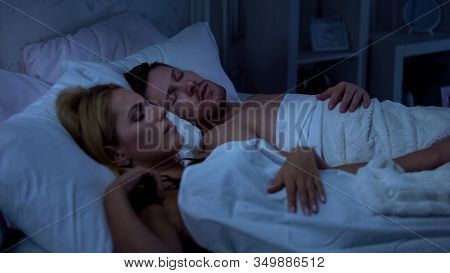 Couple Sleeping In Bed, Husband Snoring, Health Problems, Sleeping Disorder