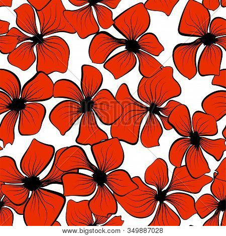 Red Poppies On Colorful Background. Seamless Floral Texture. Vector Illustration Wallpaper Seamless