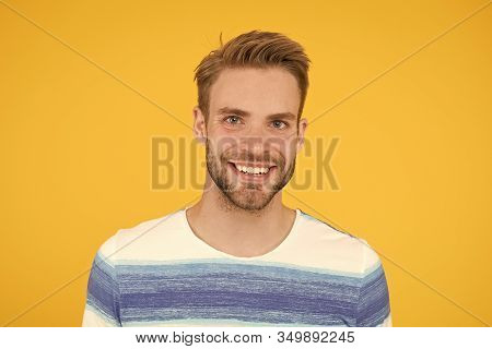 Positive Emotions. Happy Man On Yellow Background. Bearded Man Smiling. Man With Mustache And Beard