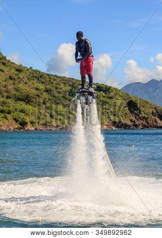 Cockleshell Bay, St Kitts - November 5:  Flyboarding Demonstrated On Cockleshell Bay On November 5th