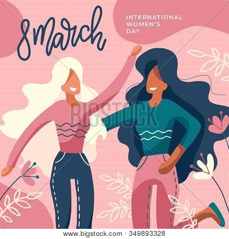 International Womens Day. Girls Together. Two Faceless Ladies Hugging. Girl Power, Feminism Poster W
