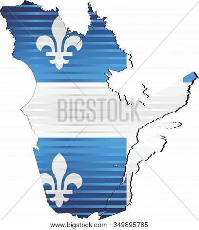 Shiny Grunge Map Of The Quebec - Illustration,  Three Dimensional Map Of Quebec