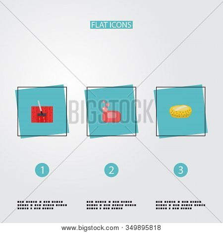 Set Of Hygiene Icons Flat Style Symbols With Wisp, Housekeeping, Soap And Other Icons For Your Web M