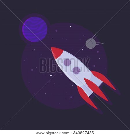 Space Rocket Ship Into Open Space. Startup Sucess Concept. Stock Vector Illustration In Flat Style.