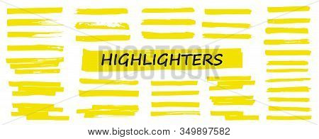 Highlighter Collection, Brush Lines, Isolated In White Background. Marker Yellow Set, Brush Pen Hand