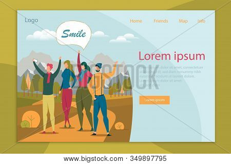 Friends Travel Together Flat Landing Page Template. People Taking Selfie In Mountains Web Banner Vec