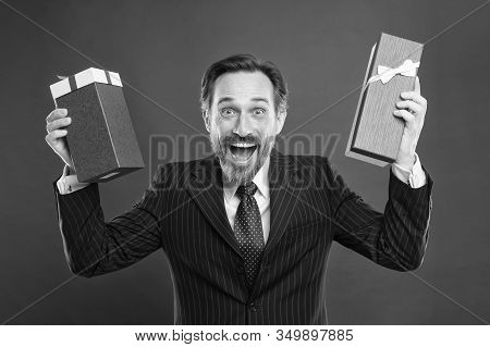 Make It Wow. Happy Businessman Got Surprise Gifts. Excited Mature Man Prepare Festive Surprise. Birt