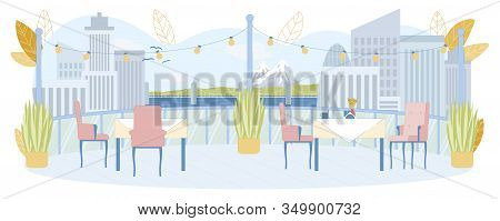 Rooftop Restaurant In Mountain City With View On Peaks And Town. Catering Open Space In Tourism Reso