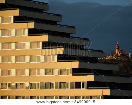Most, Czech Republic - January 29, 2020: Hnevin Castle And Pyramida Hotel At Sunset In Centre Of Cit