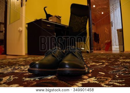 Chomutov, Czech Republic - January 29, 2020: New Winter Boots On The Ground In The Living Room