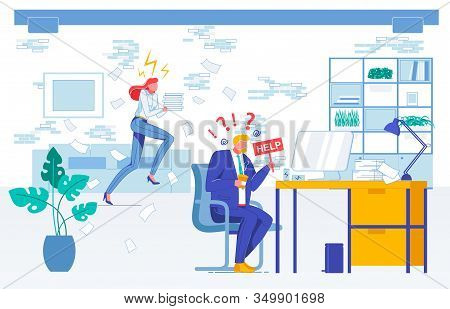 Problem, Help Request Flat Vector Illustration. Company Staff, Office Managers, Fellow Workers Facel